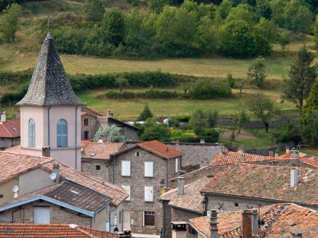 View of a typical French Rural Village in the Ardeche with Church Stock Photo - 20183266