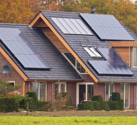 solar roof: Photovoltaic Solar Panels on Newly Built Modern House