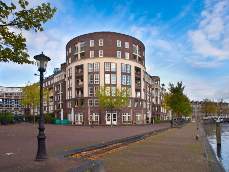 Amsterdam Urban City Scene with Apartments and Trees Stock Photo - 22235150