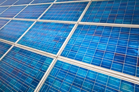 photoelectric: detail of a modern solar cell panel on a beautiful sunny day Stock Photo