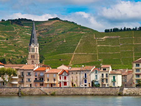 hermitage: A riverside Village and Vineyards on the Hills of the Cote du Rhone Area in France