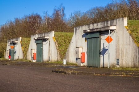 Row of Nuclear Ammunition Depot Stock Photo