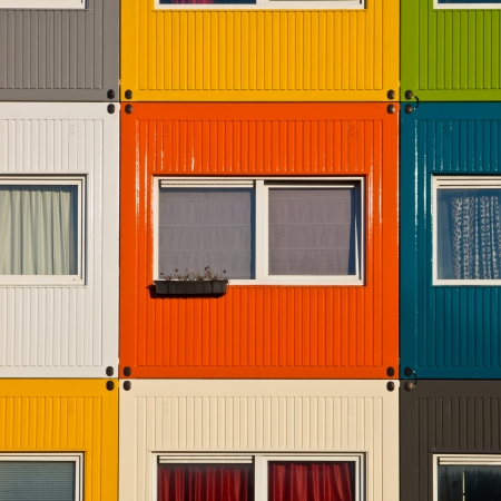 Cargo Containers in Many Colors Used as Apartment by Students to  Solve Housing Problem photo