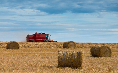 combine harvester at work with beautiful sky and straw bales in front photo