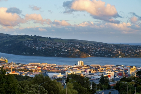View over the City of Dunedin on the South Island of New Zealand