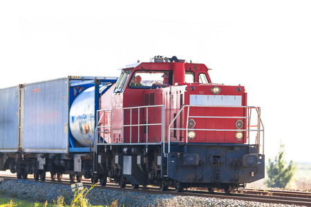 Industrial Freight Train with Container Load photo