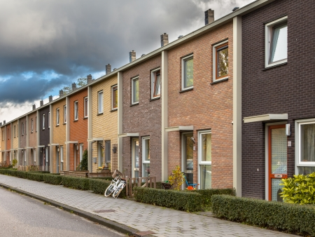 terraced: Modern Terra Colored Middle Class Terraced Houses in Europe