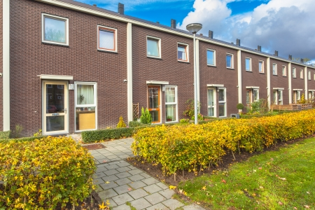 terraced: Small Terraced Houses in a Suburban Area in Europe Stock Photo