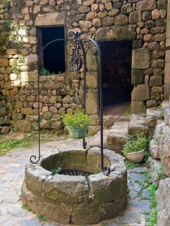 draw well: Old Wishing Draw Well in a Gothic Style Castle in France