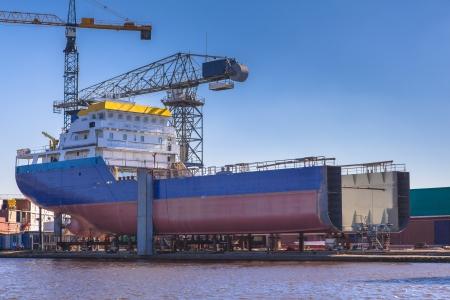 Schip wordt gebouwd op een werf in Nederland