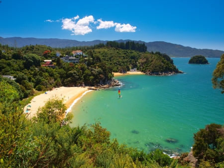 new scenery: Aerial view of a Beautiful Bay with Sandy Beach near Nelson, New Zealand Stock Photo