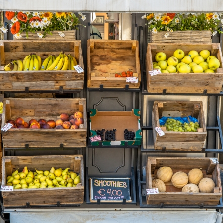 Organic Fruit on Display on a Street Market Stall Editorial