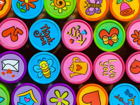stempel: Set of Colorful Stamps with Various Symbols for Friends