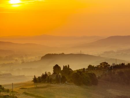 agriturismo: Tuscany Village Landscape near Florence on a Foggy Morning, Italy