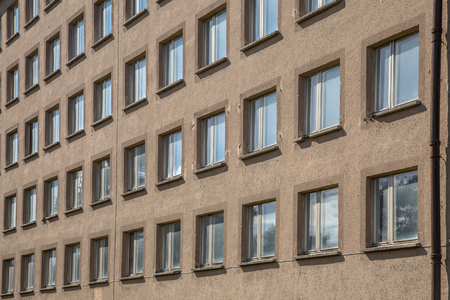 nazism: Background of Raw Concrete Building with Windows at Prora, Ruegen, Germany