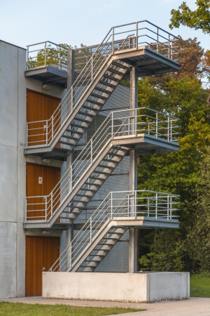 emergency stair: Fire Escape Stairs on the Exterior of a Building