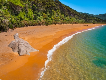 subtropics: Isolated Stretch of Deserted Beach in Abel Tasman National Park, New Zealand