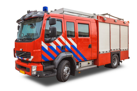 Fire Fighting Engine Isolated on White Stock Photo