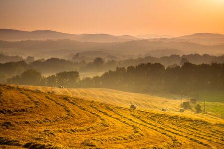volterra: Tuscany Village Landscape near Pisa on a Foggy Morning, Italy