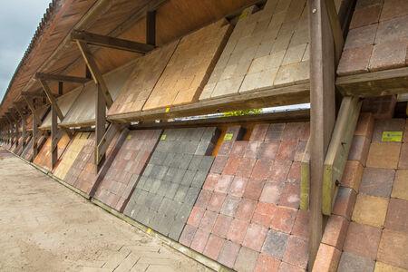 clinker tile: Display of Cobblestone and Road Brick at a stoneyard shop Stock Photo