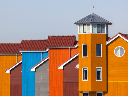Wooden Houses in various Colors in Groningen, Netherlands