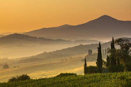toskana: Tuscany Village Landscape near Pisa on a Foggy Morning, Italy