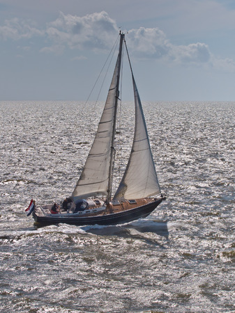 Sailing Ship in Strong Wind on the Waddensea