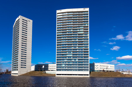 the elderly residence: Modern Tall Apaprtment Flats at the Water in the Netherlands