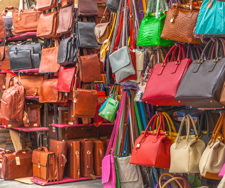 Market stall With Leather Handbags on Display photo