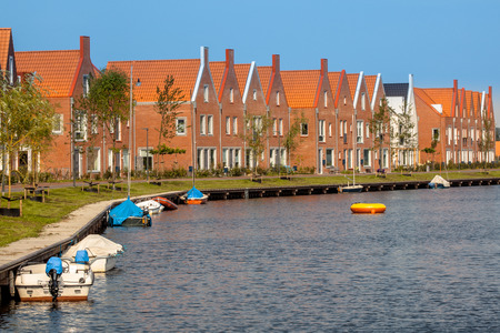 Street with New Modern Houses in an Urban Area in the Netherlands