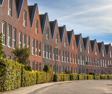 terraced: Modern Street with Terraced Real Estate for Families in the Netherlands Editorial