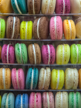 Colorful Macaron Cookies on Display in a Bakery photo