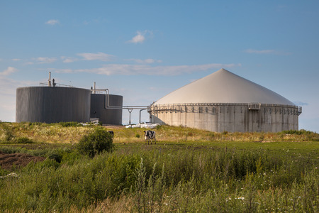manure: Bio Gas Installation Processing Cow Dung as part of a Farm