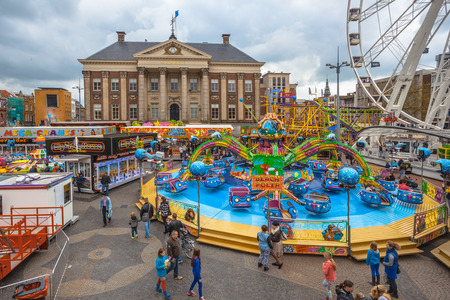 Colorful Fun Fair in the City Centre of Groningen, Netherlands