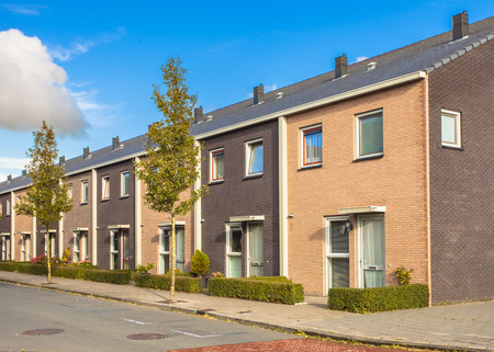 Street of Modern Family Houses in Europe Stock Photo