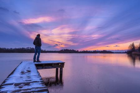 enlightment: Mood Concept Sunset Landscape Stock Photo