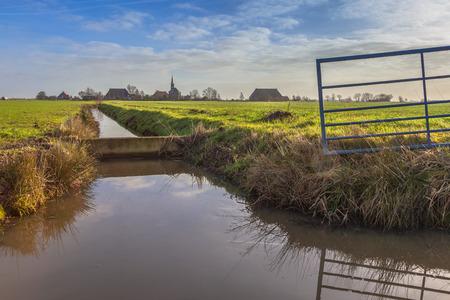 leeuwarden: Cute village on dutch countryside near Leeuwarden, Friesland