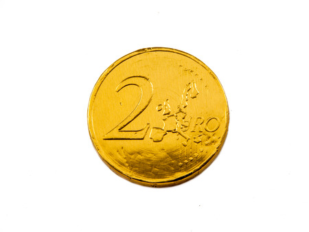 sinterklaasfeest: Euro coin on white background as a concept for finance Stock Photo