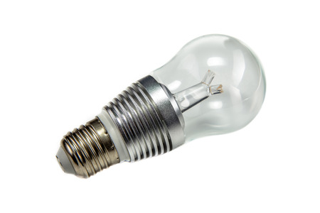 e27: High power LED bulb with conductor on white background