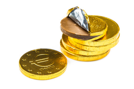 sinterklaasfeest: Stack of chocolate euro coins as a concept for finance Stock Photo
