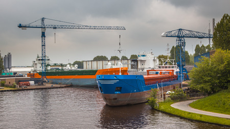 Ships being constructed in a Shipyard in Friesland, Netherlands