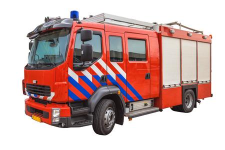 voiture de pompiers: Camion de pompiers de combat isolé sur fond blanc Banque d'images