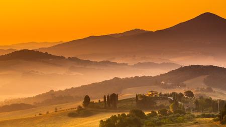 agriturismo: Tuscany Village Landscape near Pisa on a Foggy Morning, Italy