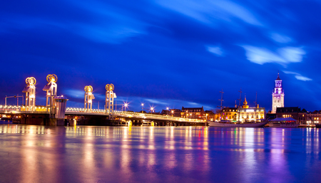 River Bridge in the Historical City of Kampen, Overijssel, Netherlands by Night photo
