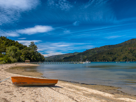 marlborough: View over Fiord with Boats, Marlborough Sounds Stock Photo