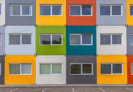 temporarily: House Block Apartments in Varied Colors in Amsterdam, The Netherlands