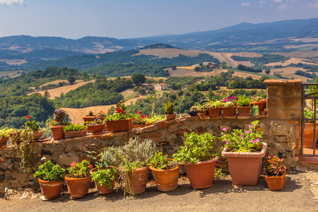 Typical Tuscan View and Balcony Gardening Stock Photo
