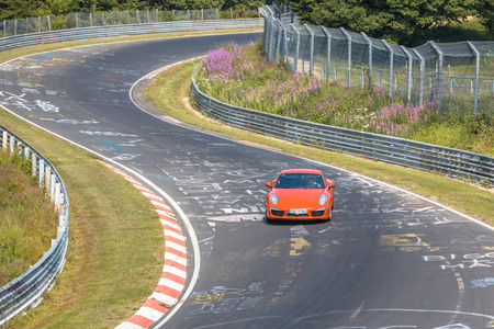 Fast Car on Racing Track in Europe