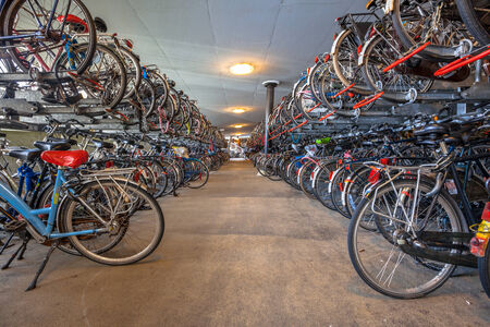 bike parking: Bicycle parking Groningen central station. The city of Groningen has been voted  most cycle friendly city of the Netherlands for 3 years in a row.