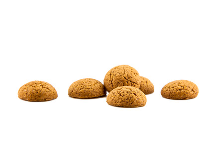 sinterklaasfeest: Group of Pepernoten, typical Dutch treat for Sinterklaas on december 5th, on White Background Stock Photo